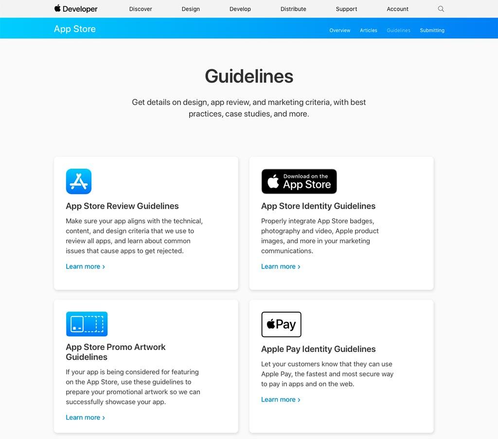 Los Guidelines para desarrolladores de Apple están abiertos a todo el público