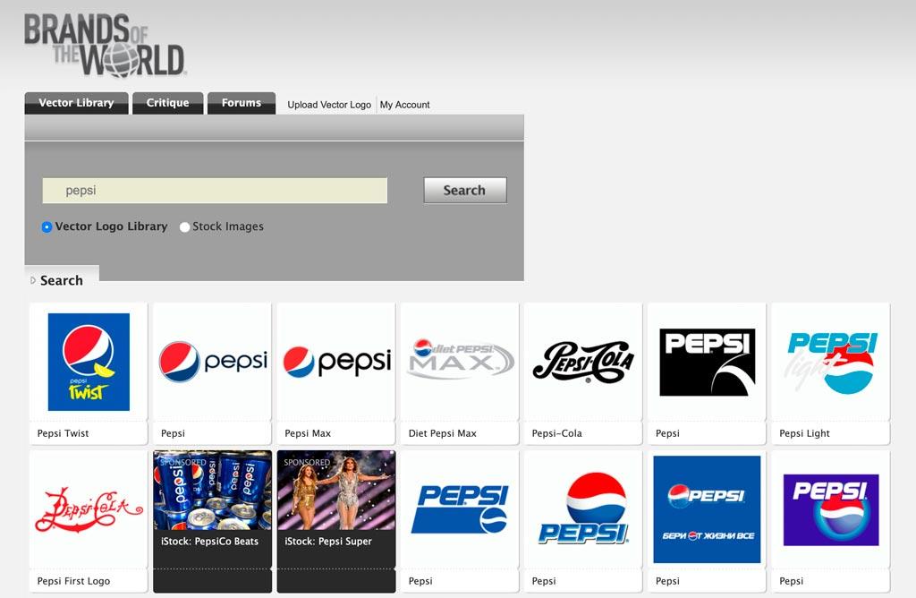Las páginas como Brands Of The World no garantizan que descargues el logotipo oficial
