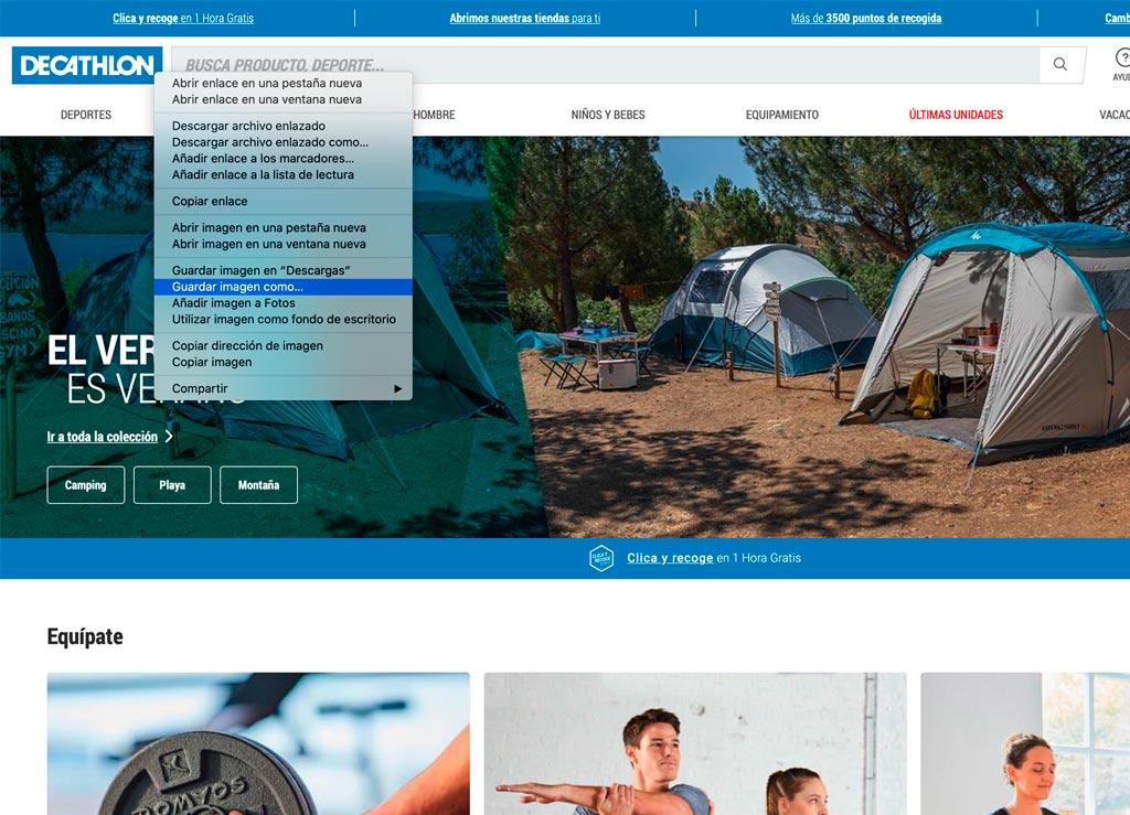 La web de Decathlon es un buen ejemplo con logotipo en formato SVG