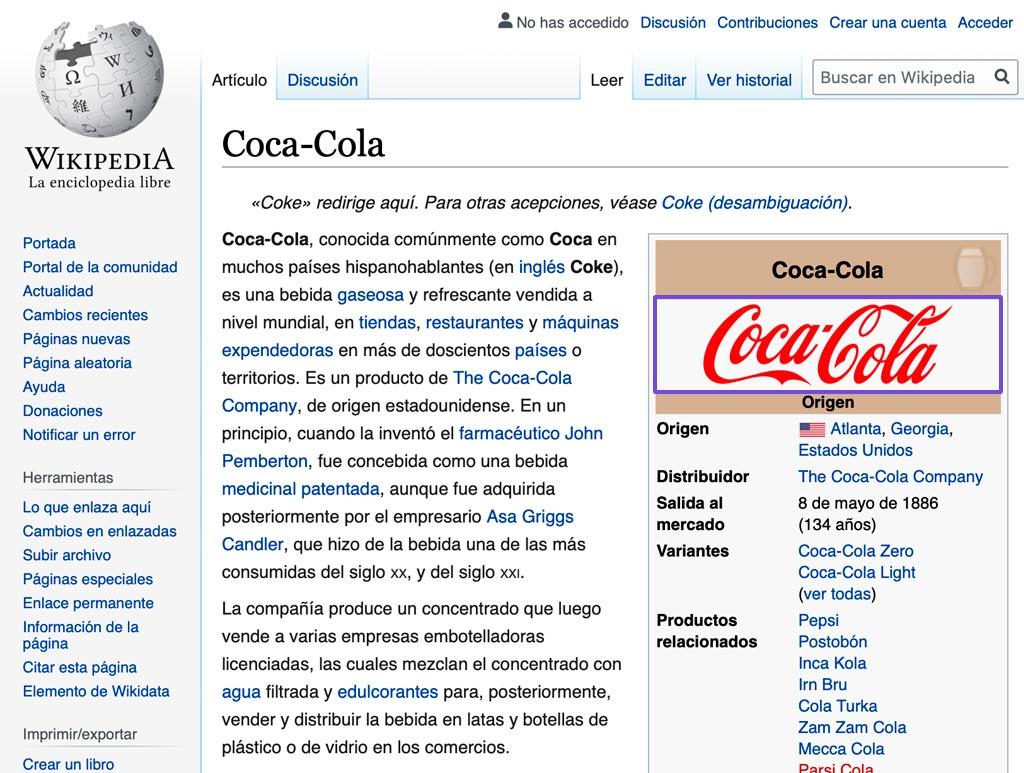 El artículo de Coca-Cola en Wikipedia nos permite la descarga vectorial SVG de su logotipo